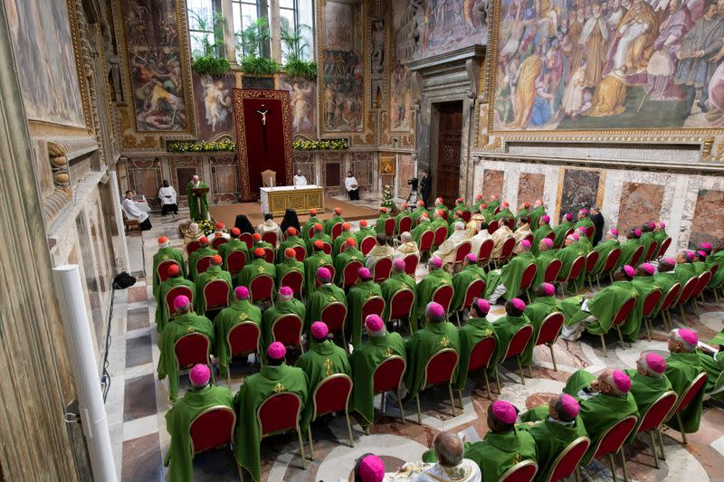 FILE PHOTO: Pope Francis speaks during the last day of the four-day meeting on the global sexual abuse crisis