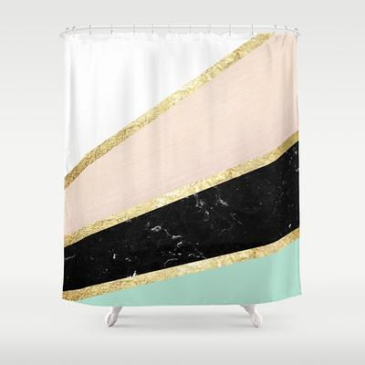 bathroom shower curtain mint blush white black marble and gold stripes glam by anita s bella s art 71 by 74 society6