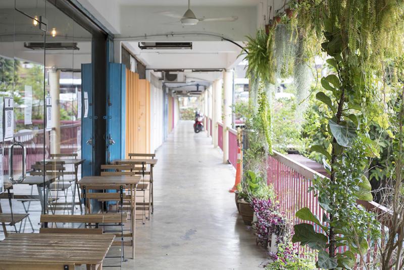 "The colourful ""rainbow corridor"" outside Ebony & Ivory provides an oasis of calm."