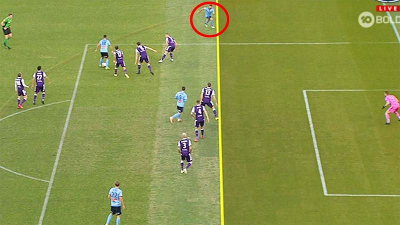 A still from the controversial VAR decision which denied Sydney FC a goal in the A-League grand final against the Perth Glory. Picture: Channel 10