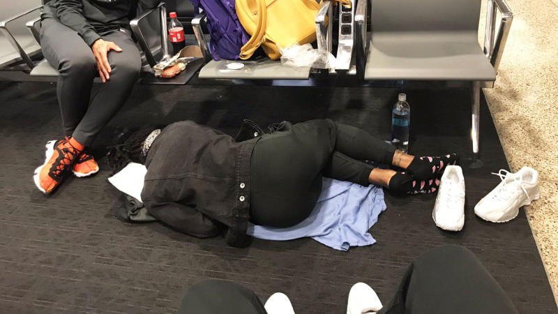 WNBA star Natalia Achonwa posted this image of her Indiana Fever teammate sleeping on the floor at an airport to demonstrate the divide between the WNBA and the NBA. The latter almost always travel on private flights, a luxury not afforded to the WNBA. Picture: Twitter/@NatAchon