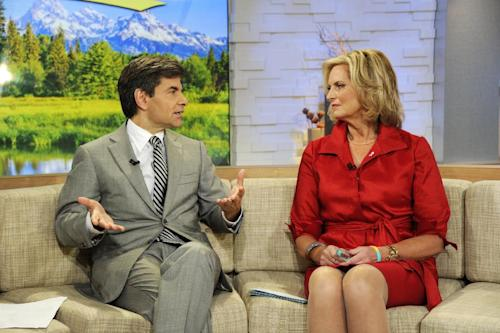 "This image released by ABC shows host George Stephanopoulos, left, speaking with Ann Romney, wife of Republican presidential hopeful Mitt Romney on ""Good Morning America,"" Wednesday, Oct. 10, 2012 in New York. Romney served as a guest co-host on the popular morning show. (AP Photo/ABC, Ida Mae Astute)"