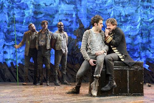 """In this theater image released by The O & M Co., from left, Matt D'Amico, Rick Holmes, Isaiah Johnson, Adam Chanler-Berat, and Christian Borle are shown in a scene from """"Peter and the Starcatcher,"""" performing at the brooks Atkinson Theatre in New York. The production was nominated for a Tony Award for best play, Tuesday, May 1, 2012. (AP Photo/The O & M Co.)"""