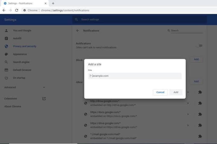 Image of Google Chrome Add A Site