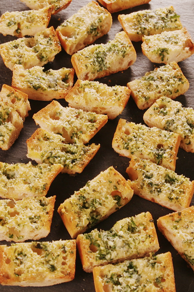 "<p>Keep it simple, and use LOTS of garlic. </p><p>Get the recipe from <a href=""https://www.delish.com/cooking/recipe-ideas/a24803098/easy-garlic-bread-recipe/"" target=""_blank"">Delish</a>. </p>"