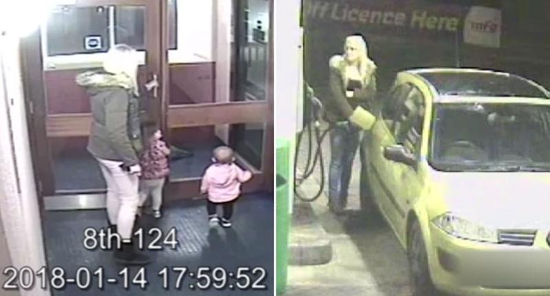 Ms Porton at a hotel and petrol station during the final moments of the girls' life, caught on CCTV.