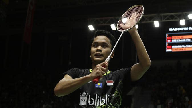 Tunggal putra Indonesia, Anthony Sinisuka Ginting. (Bola.com/Yoppy Renato)
