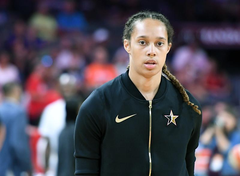 LAS VEGAS, NEVADA - JULY 27: Brittney Griner #42 of Team Delle Donne warms up before the WNBA All-Star Game 2019 against Team Wilson at the Mandalay Bay Events Center on July 27, 2019 in Las Vegas, Nevada. Team Wilson defeated Team Delle Donne 129-126. NOTE TO USER: User expressly acknowledges and agrees that, by downloading and or using this photograph, User is consenting to the terms and conditions of the Getty Images License Agreement. (Photo by Ethan Miller/Getty Images)