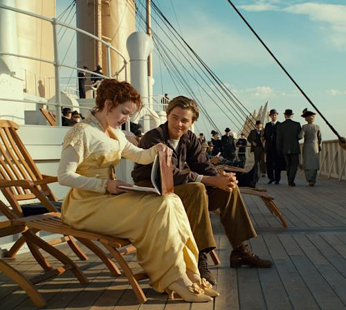 """File - In this undated file image released by Paramount Pictures, Leonardo DiCaprio and Kate Winslet, left, are shown in a scene from the 3-D version of James Cameronís romantic epic """"Titanic."""" Cameron's 1997 blockbuster """"Titanic"""" sailed beyond the $2 billion mark in lifetime ticket sales, thanks to the 3-D re-release of the film that was timed to the centennial of the ship's sinking.(AP Photo/Paramount Pictures, File)"""