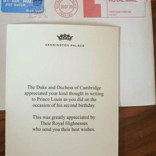 The snap, taken by Kate Middleton was sent to thank people for their well-wishes on the prince's second birthday in April - @katsroyalletters