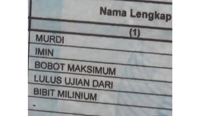 Nama Unik di Kartu Keluarga (Sumber:Brilio)