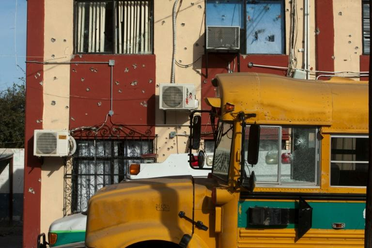 A school bus in Villa Union, in Mexico's Coahuila state, scene of a deadly weekend assault by cartel gunmen