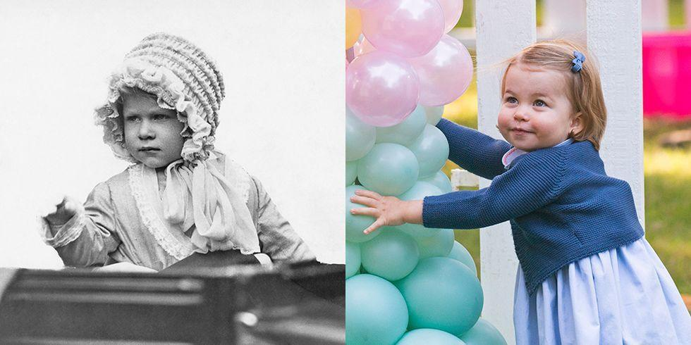 """<p><strong>LEFT: </strong>Princess Elizabeth waves from a toy carriage in a 1928 portrait. </p><p><strong>RIGHT: </strong>While in Canada,<strong></strong> <a href=""""https://www.goodhousekeeping.com/life/parenting/a19732519/camilla-parker-bowles-grandma-name/"""" target=""""_blank"""">Princess Charlotte</a> had fun with the balloon display at a children's party for military families. </p>"""