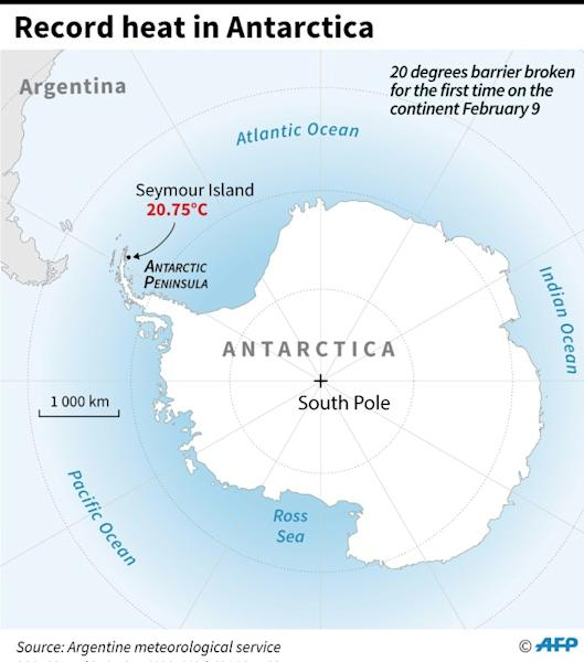 Map of Antarctica locating Seymour Island which recorded its hottest ever temperature on February 9