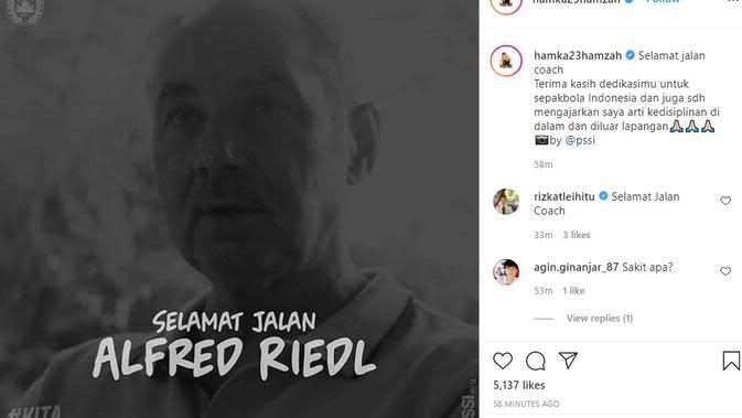 Hamka Hamzah merasa kehilangan dengan meninggalnya mantan pelatih Timnas Indonesia Alfred Riedl. (foto: https://www.instagram.com/hamka23hamzah)