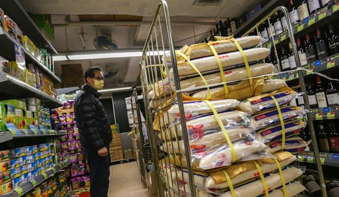 Many Hongkongers thronged supermarkets to stock up on rice, amid worries that Vietnamese authorities might ban rice exports to ensure domestic food security. Photo: Jonathan Wong