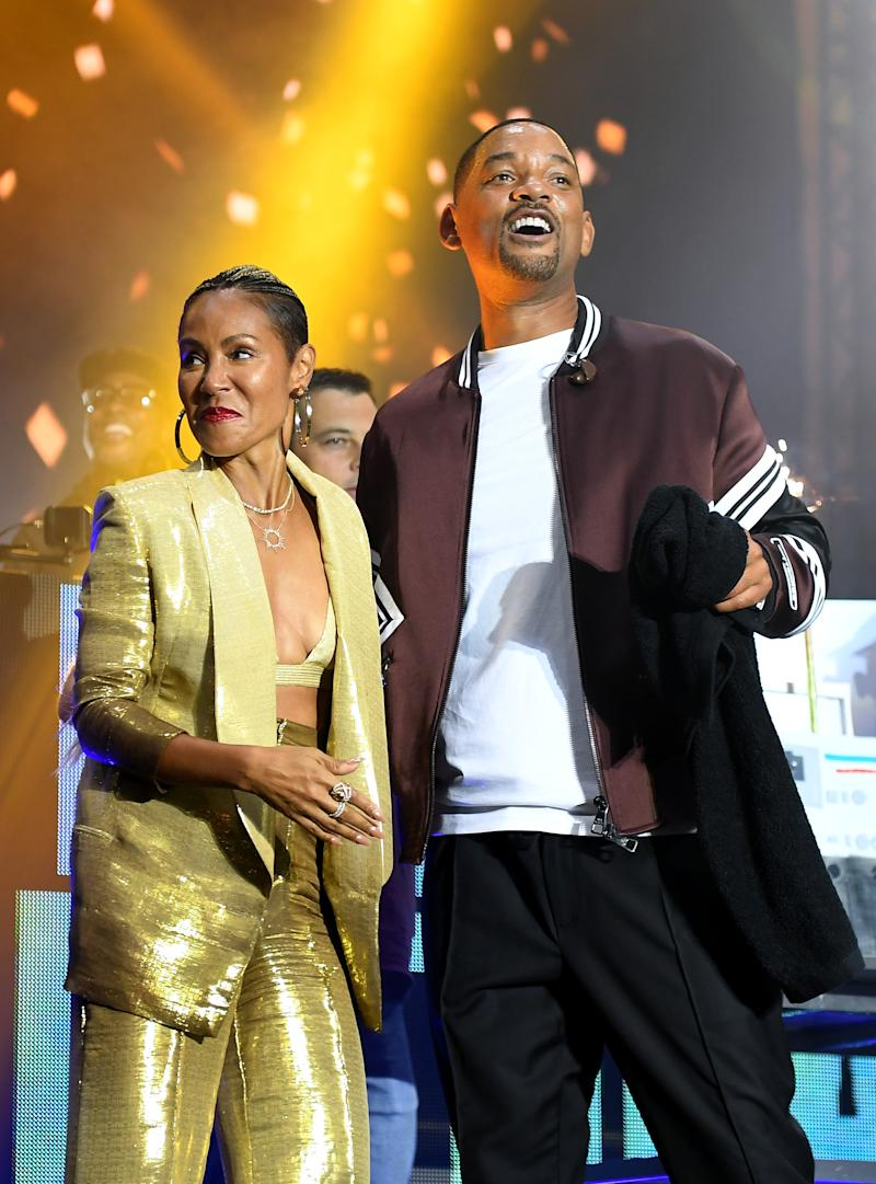"Will Smith and wife Jada Pinkett Smith on stage during the Paramount Pictures, Skydance and Jerry Bruckheimer Films ""Gemini Man"" Budapest concert at St Stephens Basilica Square on September 25, 2019 in Budapest, Hungary"