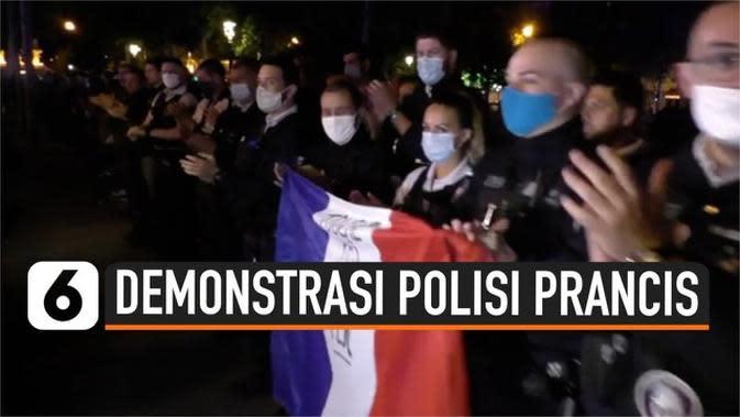 VIDEO: Dilarang Memiting Leher Penjahat dan Demonstran, Polisi Prancis Berunjuk Rasa