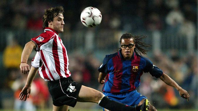 Edgar Davids bergabung Barcelona dengan status pinjaman dari Juventus pada Januari 2004 di bawah asuhan Frank Rijkaard. Dia bermain dalam 18 partai dan mencetak satu gol. (AFP/Lluis Gene)