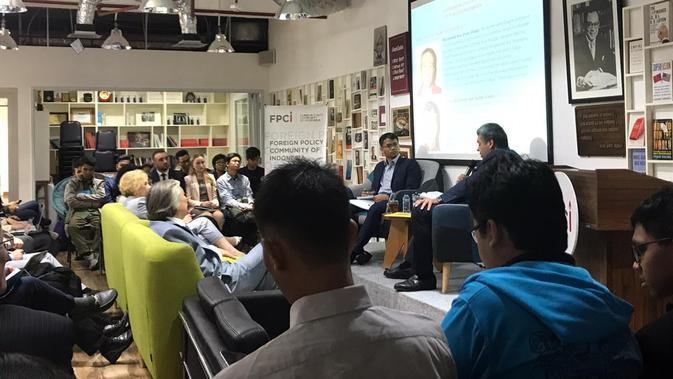 Foreign Policy Community of Indonesia (FPCI) mengadakan forum diskusi publik tentang Humanitarian Crisis di Suriah, di Gedung Mayapada I, Jakarta Pusat (Liputan6.com/Aqilah Ananda Purwanti).