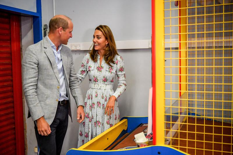 BARRY, WALES - AUGUST 05: Prince William, Duke of Cambridge and Catherine, Duchess of Cambridge at Island Leisure Amusement Arcade, where Gavin and Stacey was filmed, during their visit to Barry Island, South Wales, to speak to local business owners about the impact of COVID-19 on the tourism sector on August 5, 2020 in Barry, Wales. (Photo by Ben Birchall - WPA Pool/Getty Images)