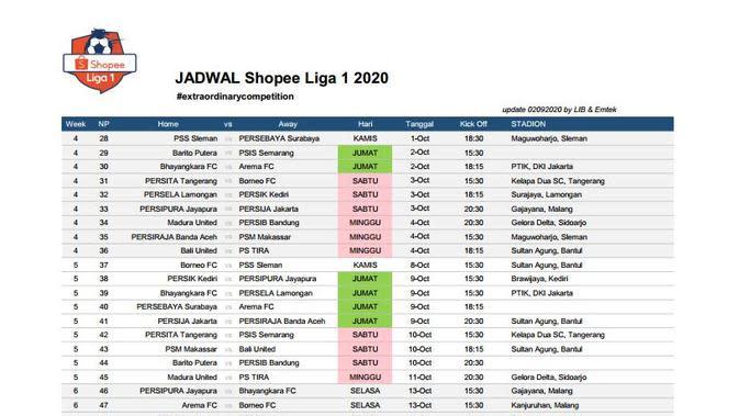 Jadwal lanjutan Liga 1 musim ini (Istimewa)