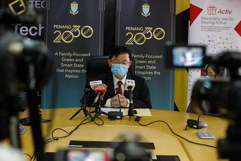 Penang Chief Minister Chow Kon Yeow speaks during a press conference at Komtar in George Town September 23, 2020. — Picture by Sayuti Zainudin