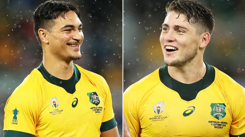 Jordan Petaia and James O'Connor, pictured here at the Rugby World Cup. Image: Getty
