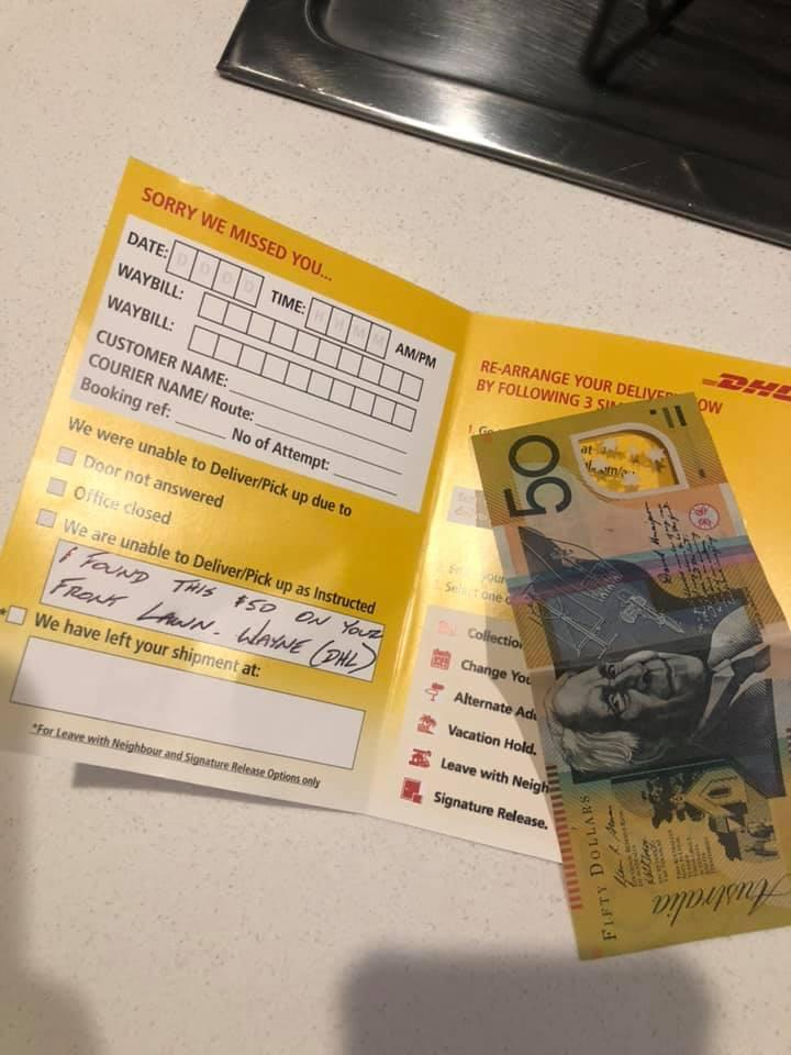 A $50 note inside a DHL delivery note after a Sydney woman lost her cash and was reunited with it later in the day.
