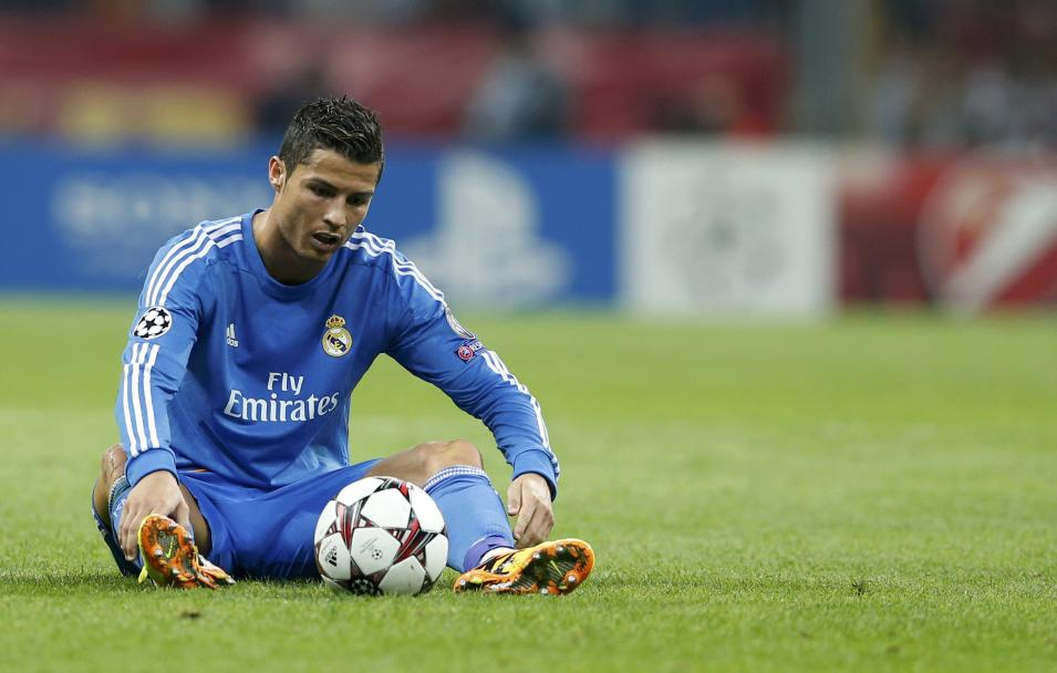 Real Madrid's Ronaldo reacts during their Champions League soccer match against Galatasaray in Istanbul