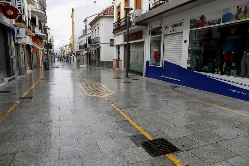 An empty La Bola street is pictured during partial lockdown in downtown Ronda