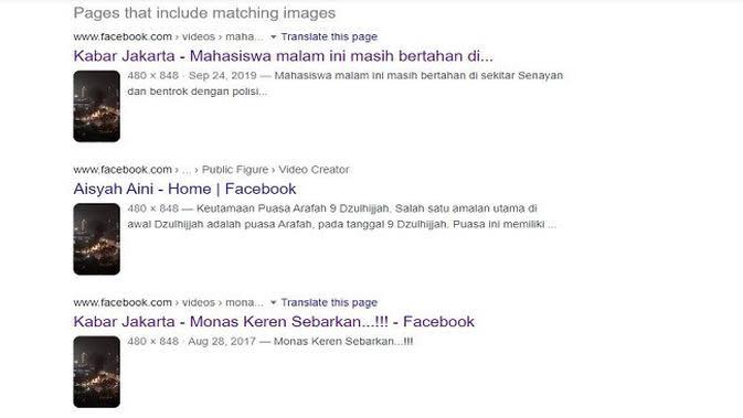 Gambar Tangkapan layar Penelusuran Foto dengan Google Reverse Image.