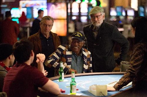 """This image released by CBS Films shows, from left, Robert De Niro, Morgan Freeman, and Kevin Kline, in a scene from """"Last Vegas."""" (AP Photo/CBS Films, Chuck Zlotnick)"""