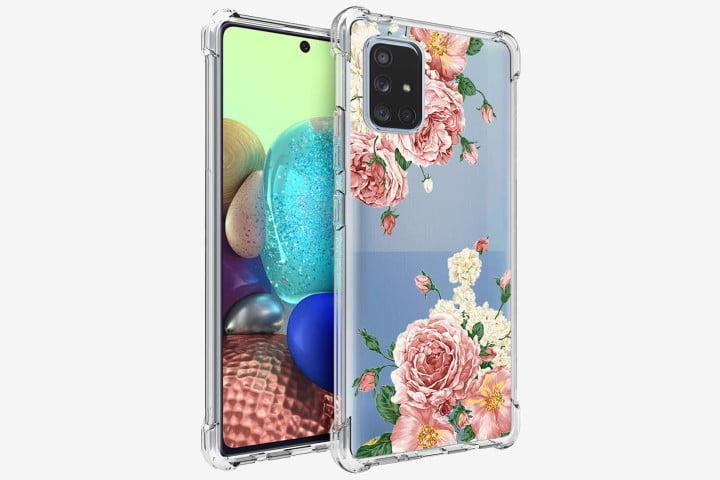 Photo shows the front and back of a Samsung Galaxy A71 5G phone in a clear floral design case