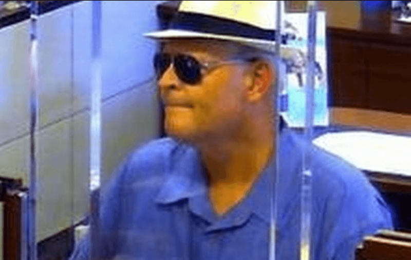 Lotto winner turned bank robber James Allen Hayes during one of his heists.