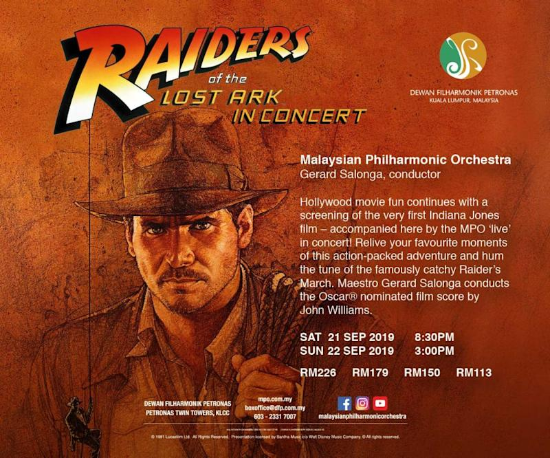 Relive your favourite moments of the 1981 blockbuster 'Raiders of the Lost Ark' at the Malaysian Philharmonic Orchestra next weekend. — Pictures courtesy of Philharmonic