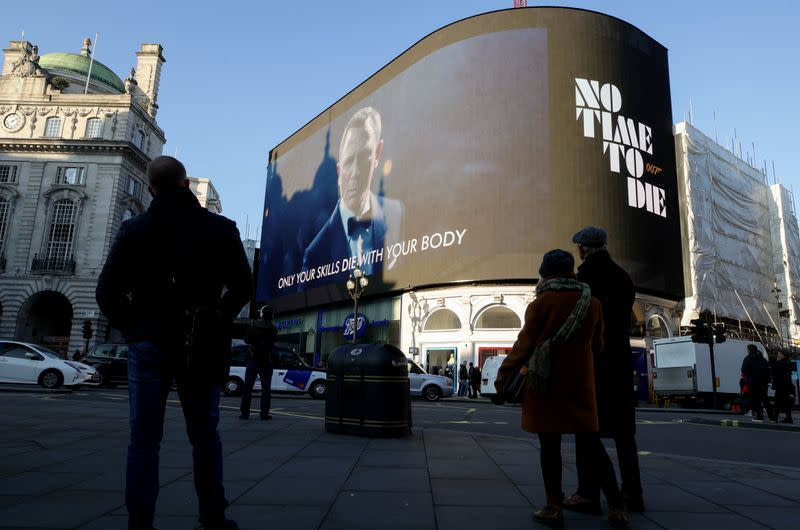 """Trailer for a James Bond film """"No Time to Die"""" is displayed in London"""