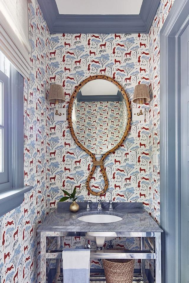 "<p>Designer Jessica Geller of <a href=""https://www.housebeautiful.com/lifestyle/a25647685/toledo-geller-interior-designers/"" target=""_blank"">Toledo Geller</a> has a passion for prints—and bathrooms are no exception. She covered the walls in the powder room of her own <a href=""https://www.housebeautiful.com/design-inspiration/house-tours/a31445228/jessica-geller-new-jersey-home/"" target=""_blank"">New Jersey home</a> with a playful pattern by Hygge & West. Proper ventilation ensures it won't peel off. </p><p><a class=""body-btn-link"" href=""https://www.hyggeandwest.com/collections/wallpaper/products/serengeti-burnt-orange"" target=""_blank"">SHOP NOW </a></p><p></p>"