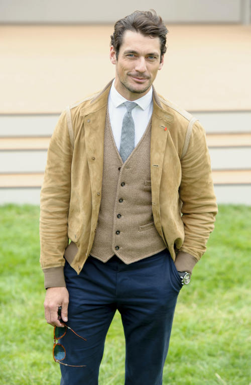 British model, David Gandy arrives for Burberry Prorsum show, during London Men's spring summer fashion collections 2014, in London, Tuesday, June 18, 2013. (Photo by Jonathan Short/Invision/AP)