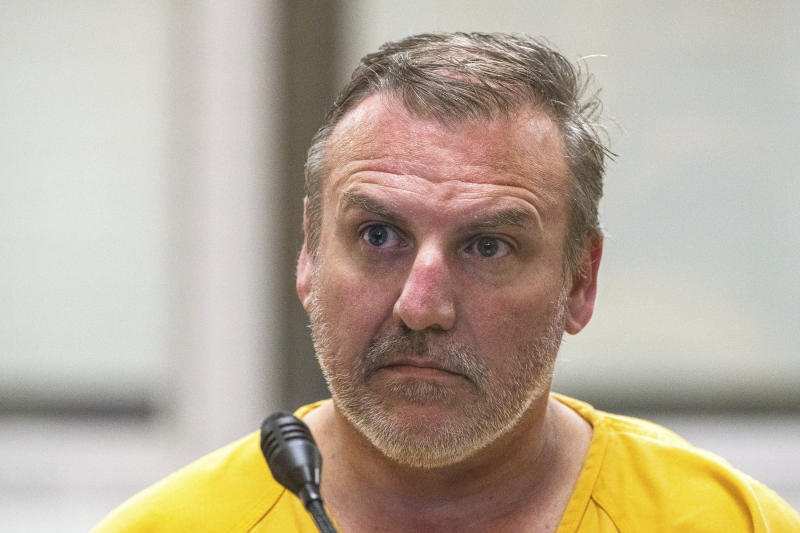Brian Steven Smith is shown being arraigned on a charge of first-degree murder at the Anchorage Jail courtroom.