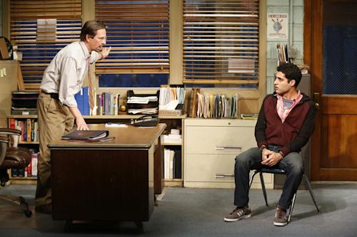 """This theater image released by Sam Rudy Media Relations shows Stephen Barker Turner as Dr. Danielson, left, and Babak Tafti as Khadim Asmaan from The Vineyard Theatre's production, """"The North Pool."""" (AP Photo/Sam Rudy Media Relations, Carol Rosegg)"""