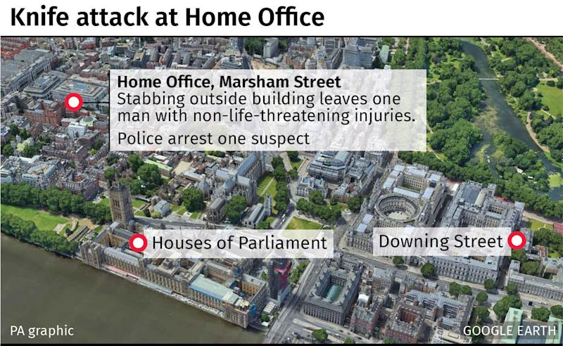 The man was stabbed in the heart of Westminster outside the Home Office building. (PA)