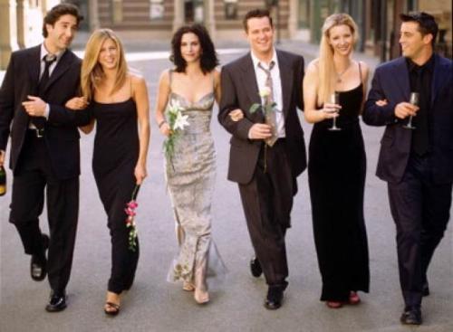 David Schwimmer as Ross Geller, Jennifer Aniston as Rachel Green, Courteney Cox as Monica Geller, Matthew Perry as Chandler Bing, Lisa Kudrow as Phoebe Buffay, Matt LeBlanc as Joey Tribbiani from NBC's 'Friends' -- NBC