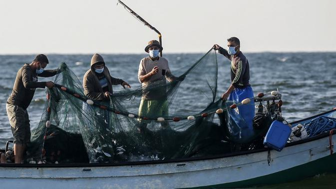 Nelayan Palestina mengumpulkan hasil tangkapan dari jaring saat menangkap ikan di Laut Mediterania, Rafah, Jalur Gaza, Rabu (2/9/2020). (SAID KHATIB/AFP)