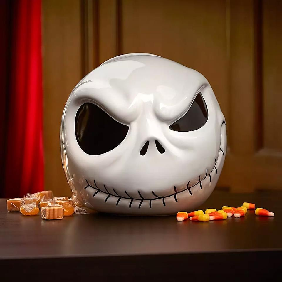 """<p>The <a href=""""https://www.popsugar.com/buy/Jack-Skellington-Cookie-Jar-480446?p_name=Jack%20Skellington%20Cookie%20Jar&retailer=shopdisney.com&pid=480446&price=35&evar1=moms%3Aus&evar9=46499409&evar98=https%3A%2F%2Fwww.popsugar.com%2Fphoto-gallery%2F46499409%2Fimage%2F46503141%2FJack-Skellington-Cookie-Jar&list1=shopping%2Challoween%2Cdisney%2Challoween%20decor%2Chome%20shopping&prop13=api&pdata=1"""" rel=""""nofollow"""" data-shoppable-link=""""1"""" target=""""_blank"""" class=""""ga-track"""" data-ga-category=""""Related"""" data-ga-label=""""https://www.shopdisney.com/jack-skellington-cookie-jar-465011965326.html"""" data-ga-action=""""In-Line Links"""">Jack Skellington Cookie Jar </a> ($35) will keep all the ghouls away with its haunting design. </p>"""
