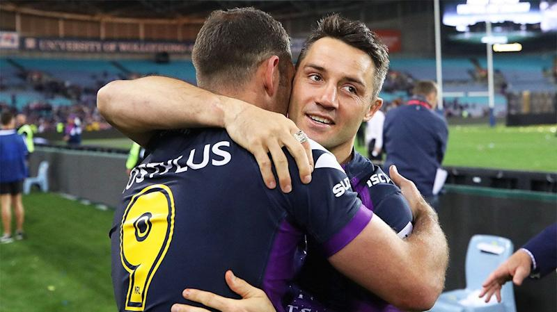 Cooper Cronk celebrating with former teammate Cameron Smith. (Getty Images)