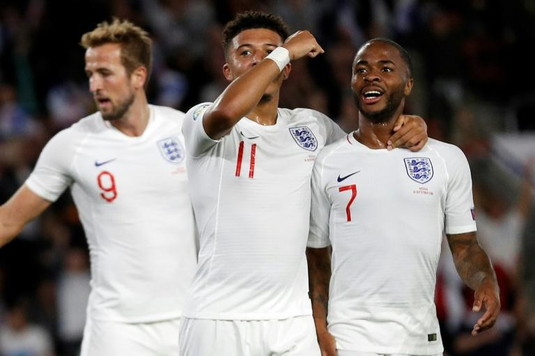Harry Kane (left), Jadon Sancho (centre) and Raheem Sterling (right) formed a devastating attacking trio for England against Kosovo
