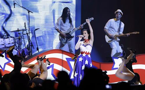 "Katy Perry performs during the Kids' Inaugural: Our Children. Our Future."" event in Washington, Saturday, Jan. 19, 2013, as part of the 57th Inauguration weekend of events. (AP Photo/Frank Franklin II)"