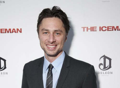 "FILE - This April 22, 2013 file photo provided by Millennium shows actor Zach Braff at the DeLeon Tequila special screening of ""The Iceman"" at the Arclight in Los Angeles. In the wake of the enormously successful ""Veronica Mars"" Kickstarter campaign, Zach Braff is turning to crowd-funding to help realize a goal he's had since his 2004 film ""Garden State"": make another movie. The ""Scrubs"" star on Wednesday, April 24, 2013 launched a campaign to raise $2 million from fans on Kickstarter. (AP Photo/ Millennium, Todd Williamson, File)"