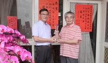 蔡焜培獲世界盃烘豆大賽台灣選拔賽冠軍 鹿港鎮長道賀